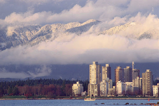 winter-Vancouver-British-Columbia - A winter view across to West End in Vancouver, British Columbia