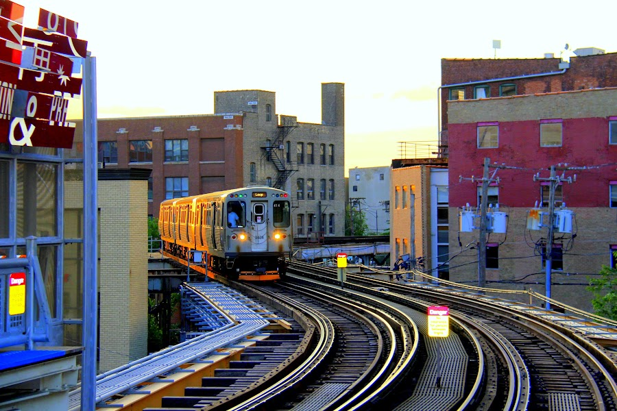 Trains in Downtown Chicago by Leong Jeam Wong - Transportation Trains ( railway, rail, train, chicago, tracks,  )