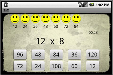 2x2 Multiplication Tables - screenshot