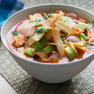 Chicken Tortilla Soup with Hominy, Avocado & Queso Fresco.