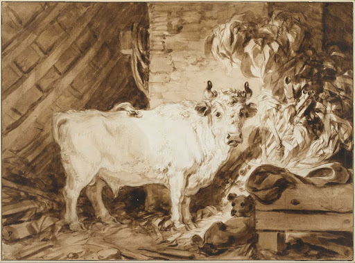 White Bull and a Dog in a Stable