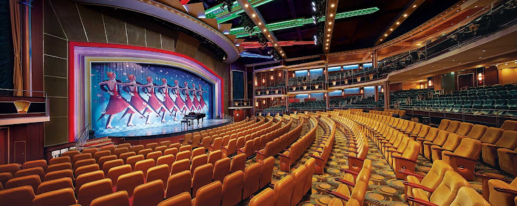 The five-story Savoy Theater, Mariner of the Seas' main show lounge, features Broadway-style productions.