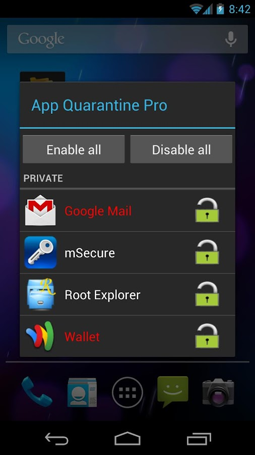 App Quarantine Pro ROOT/FREEZE - screenshot