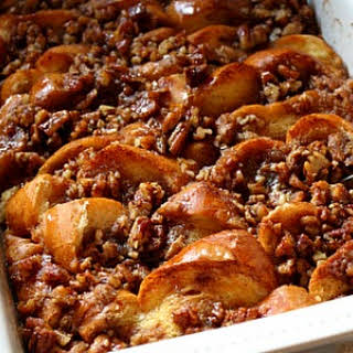 Baked French Toast with Maple and Praline.