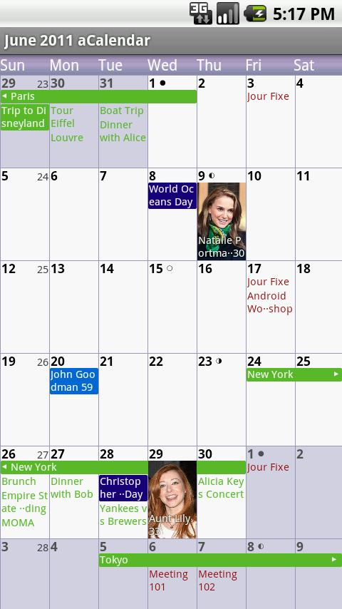 aCalendar - Android Calendar - screenshot