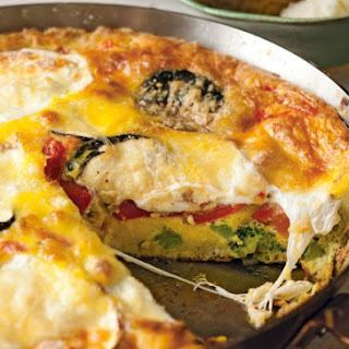 Broccoli, Smoked Mozzarella And Roasted Red Pepper Frittata.