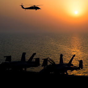 War and Peace by Justin Orr - News & Events World Events ( helicopter, f-18, airplanes, silhouette, sunset, war,  )