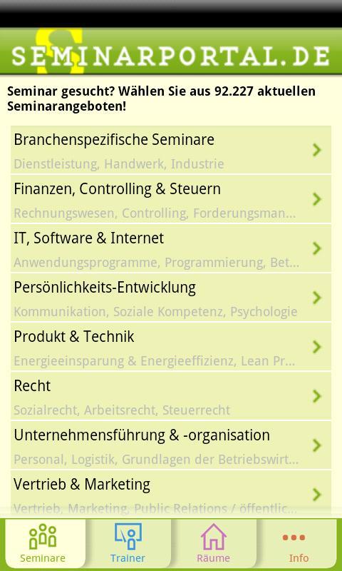 Seminarportal- screenshot