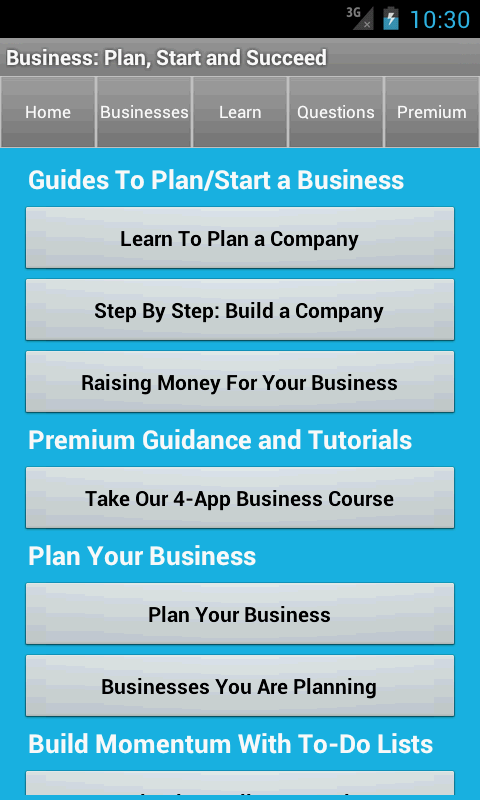 Business Plan & Start Startup - screenshot