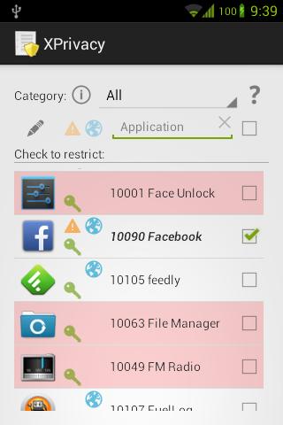 XPrivacy - screenshot