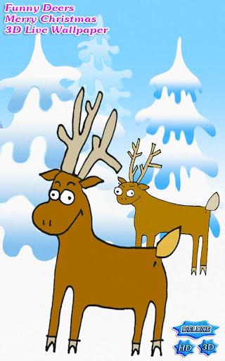 Funny Deers Merry Christmas 3D