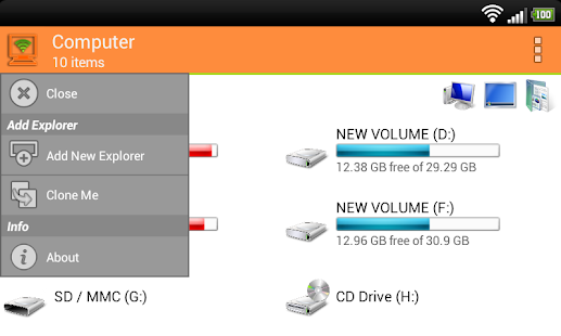 WiFi PC File Explorer Screenshot