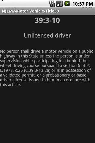 NJLAW Motor Vehicle - Title 39- screenshot