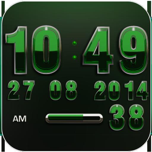 Digi Clock Widget Emerald