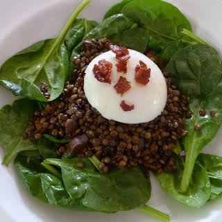 French Lentil Caviar Salad with a Poached Egg.
