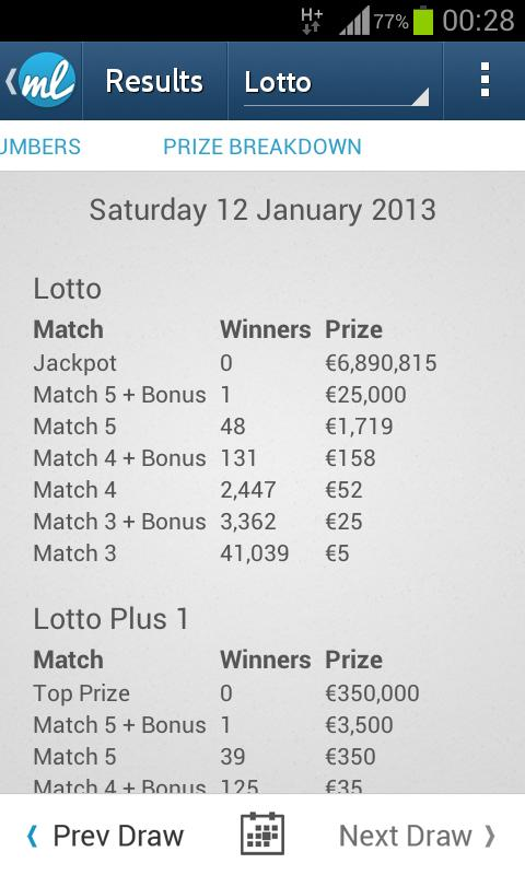 Irish Lotto (Lottery Results) - screenshot
