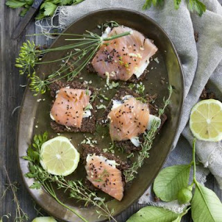 Oven-Baked Salmon With Lemon and Rosemary.