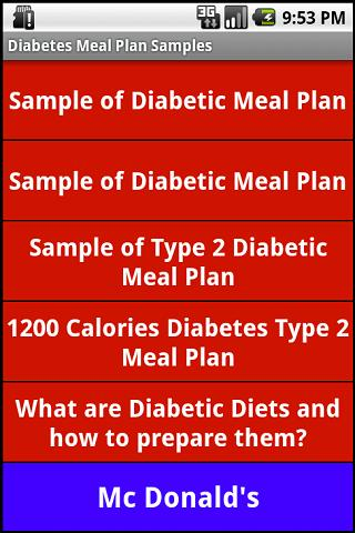 Diabetic Diet Samples - screenshot