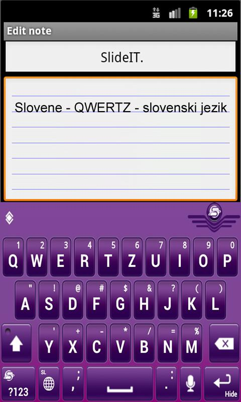 SlideIT Slovenian QWERTZ Pack- screenshot