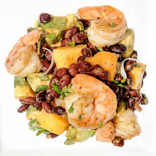 Shrimp, Mango, Avocado, Black Bean Salad with Chile-Lime Dressing.