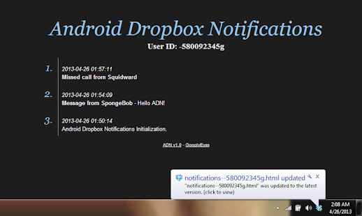 Android Dropbox Notifications - screenshot thumbnail