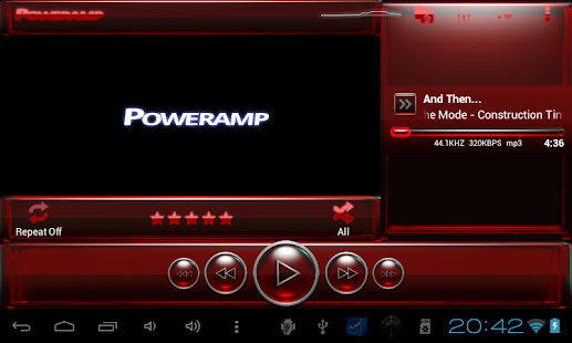 Poweramp skin red glass - screenshot thumbnail