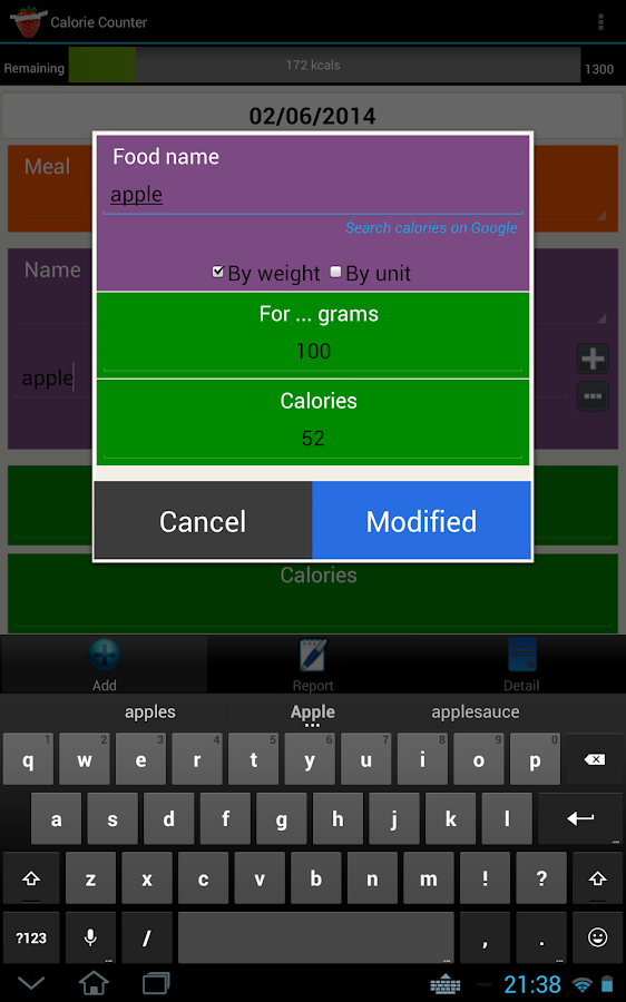 Calorie Counter Simple PRO- screenshot