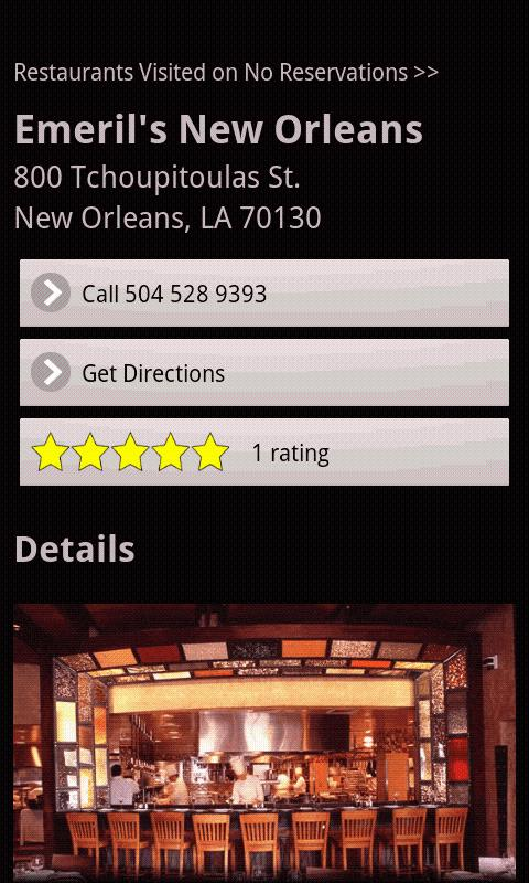 No Reservations Locator- screenshot