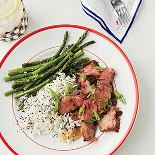 Grilled Skirt Steak and Asparagus with Miso Drizzle