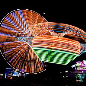 Orange Glow by Roy Walter - City,  Street & Park  Amusement Parks ( lights, rides, amusement park, county fair, farris wheel )
