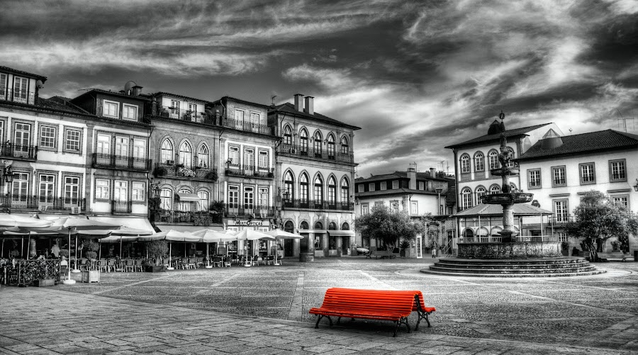 Red Bench by Pedro Lima - City,  Street & Park  Historic Districts ( bench, ponte de lima, red bench, largo de camões, portugal )