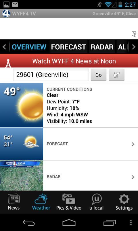 WYFF News 4 and weather- screenshot