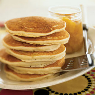 Coconut Pancakes with Orange-Mango Compote.
