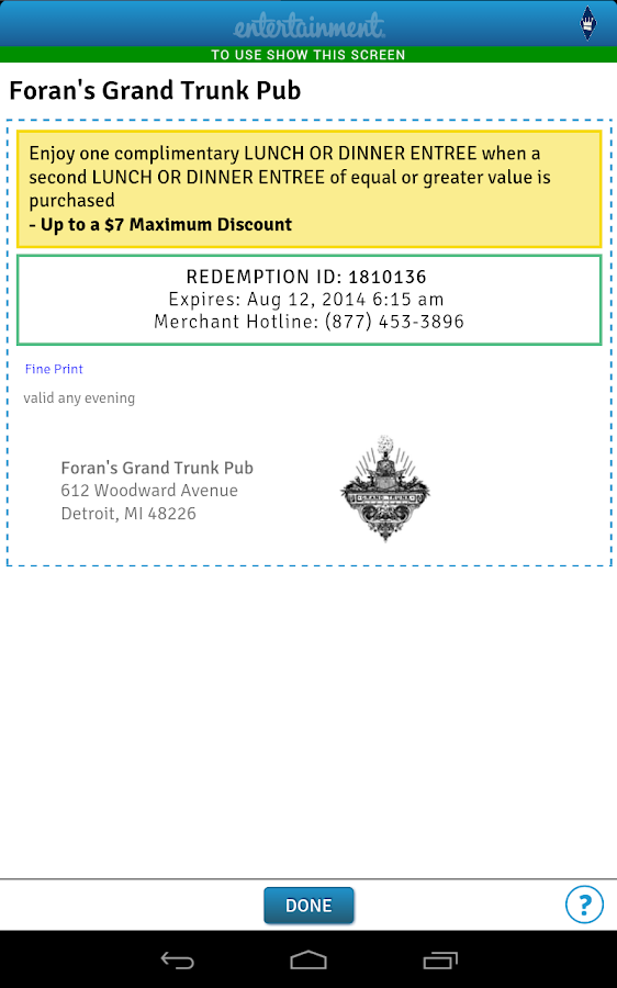 Entertainment Coupons - screenshot