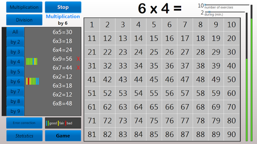 Multiplication tables trainer+