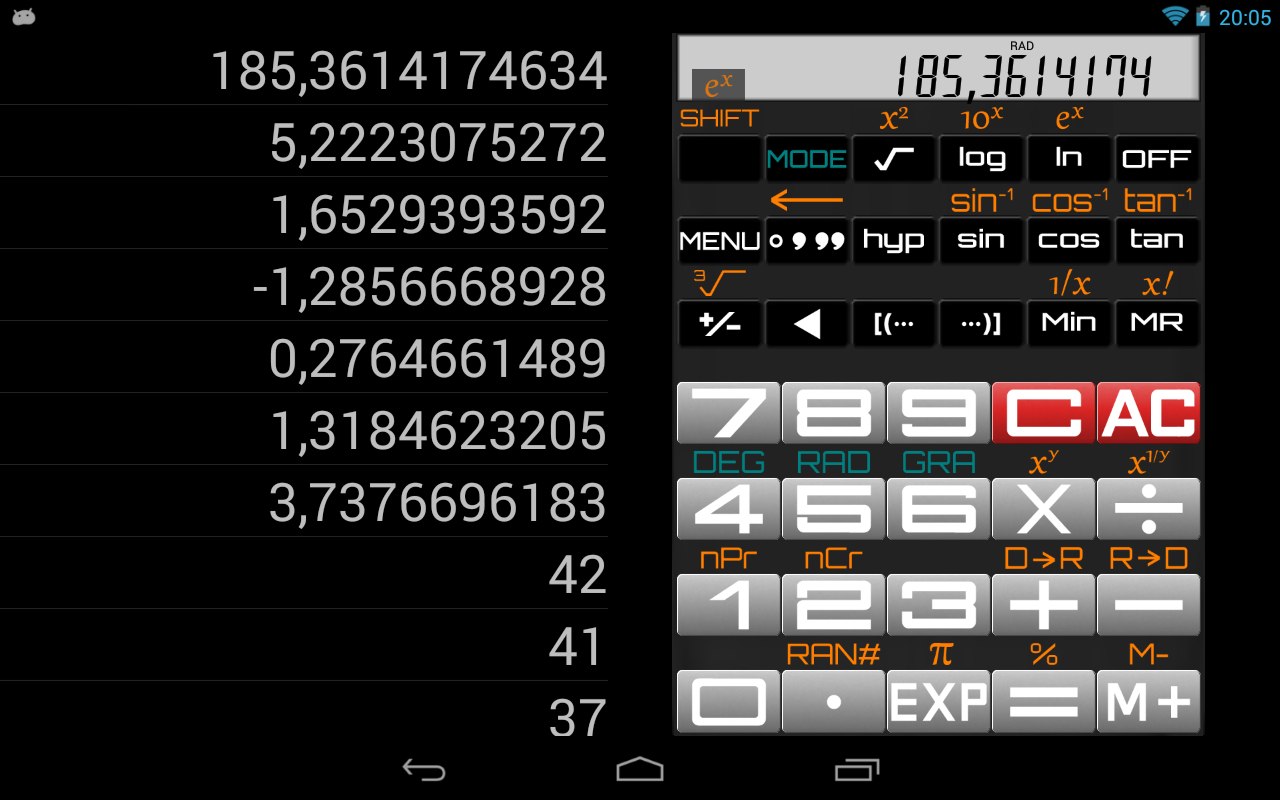 Scientific Calculator: captura de tela