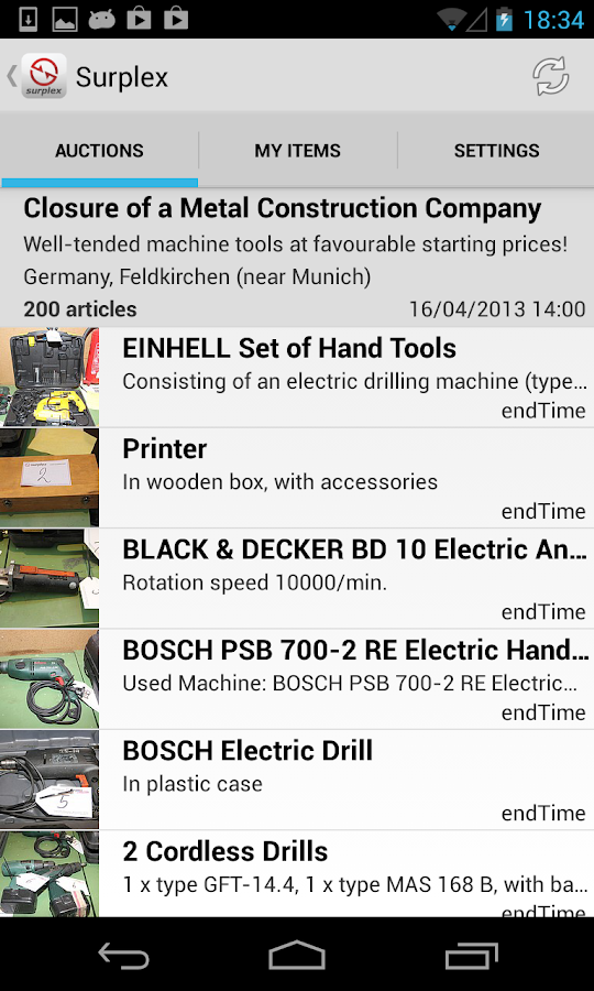 Surplex Auctions- screenshot