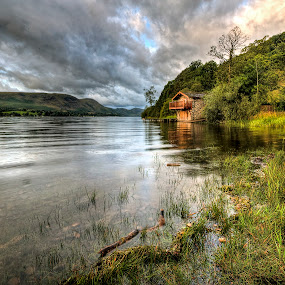 Ullswater boat house, Cumbria, England by Dave Byford - Landscapes Mountains & Hills ( water, england, mountains, cumbria, grass, waterscape, boathouse, rushes, ullswater, landscape, reeds,  )