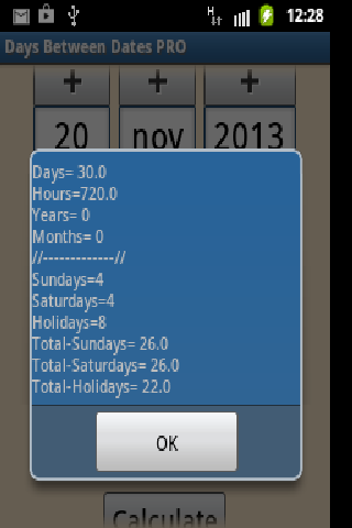 Days Between Dates - screenshot