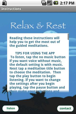 Relax and Rest Meditations - screenshot