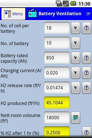 Battery room ventilation calc