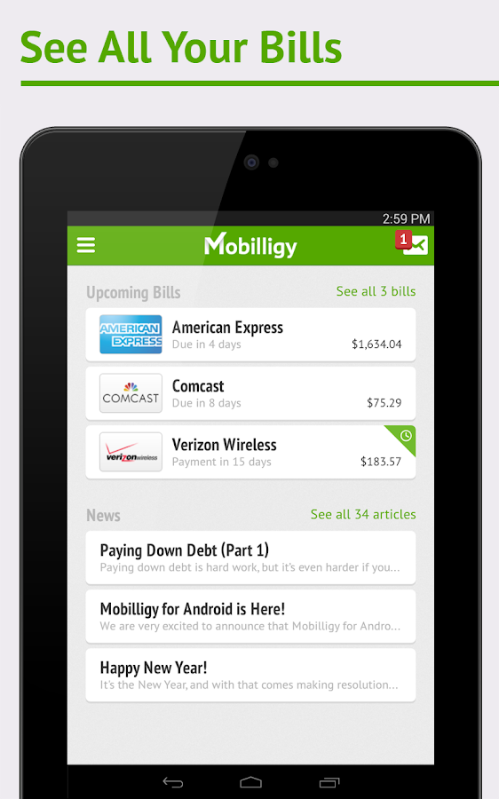 Mobilligy: Pay bills for free - screenshot