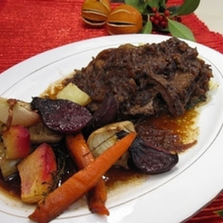 Sussex Stewed Beef with Roasted Root Vegetables and Cabbage Recipe