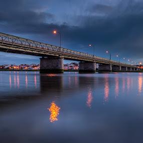 Sketches by Ricardo  Guimaraes - Buildings & Architecture Bridges & Suspended Structures ( water, building, smooth, color, blue hour, sunset, architecture, bridge, portugal, reflexions, light, river,  )