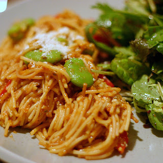 Fideos with Favas, Red Peppers and Black Olives.