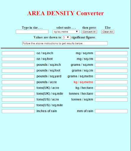 Area Density Finder