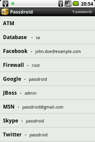 Passdroid - screenshot