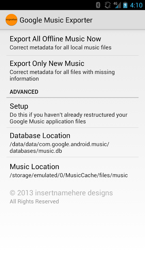 Google Music Offline Exporter - screenshot