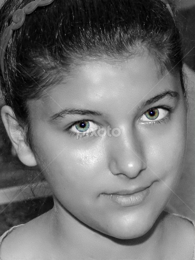 Green eyes by Krishna & Garuda (Adrian Radu) - Black & White Portraits & People (  )