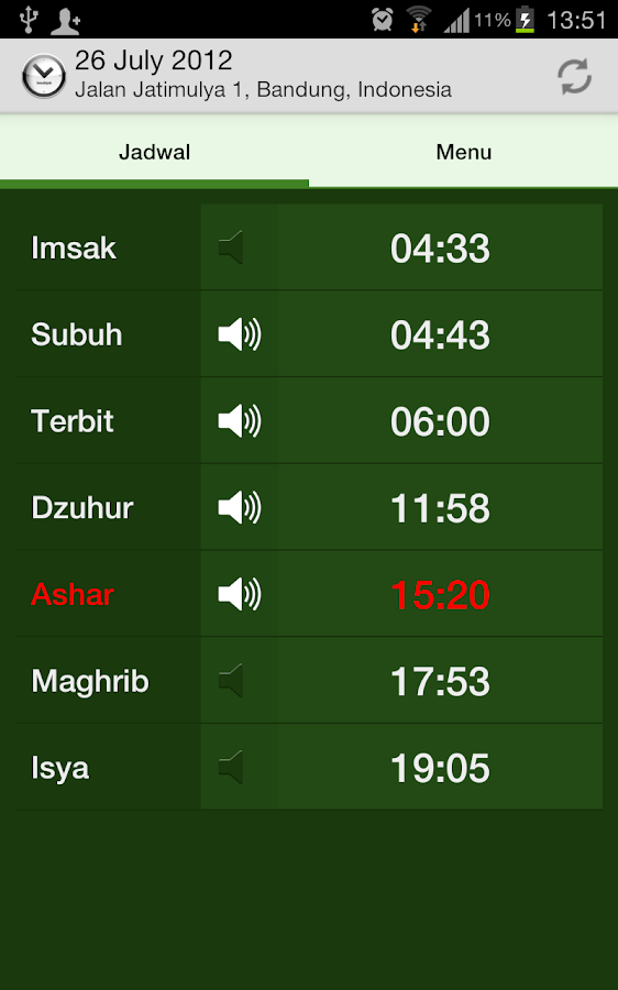 Jadwal Sholat - screenshot